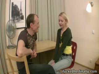 Virgin deflowered door boyfriend's vader.