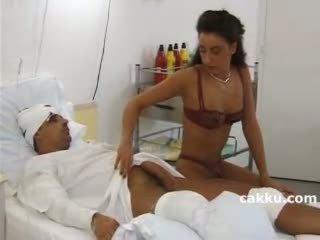 Nurse using all ability for sick man 1
