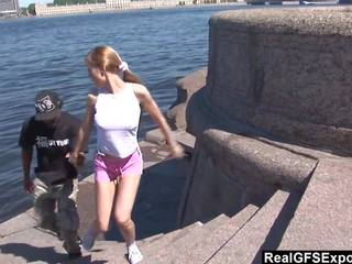 Russian Blonde Olga Meets BBC While Jogging: Free Porn 81
