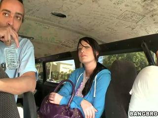 Slutty brunette hottie gets banged in de bang bus