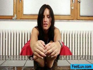 brunette, hardcore sex, foot fetish