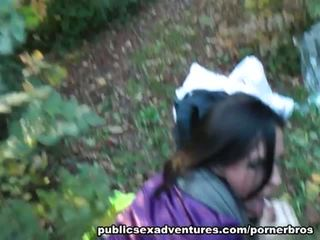 Public Sex Adventures: Sexy brunette fucked in the woods