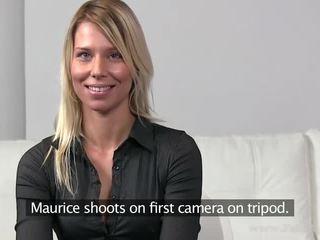 Hot blond girl Lenka banged in threeway