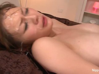Big titty babe gets drenched in cum