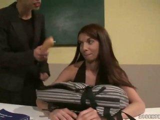Teacher punishing cute schoolgirl