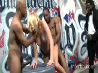 Extremely lovely chick Blond prostitute Katie Summers gets gangbanged