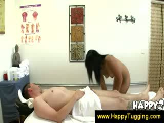 Masseuse puts a penis in her mouth
