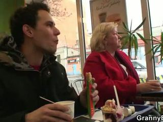Huge grandma swallows his horny cock