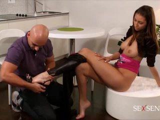 brunette, putain de, succion