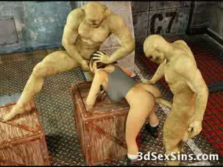 Zombies ejaculações em 3d miúda!