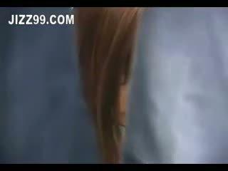 اليابانية, امرأة سمراء, في الهواء الطلق