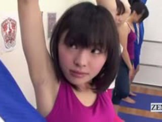 Subtitled jepang yoga stretching class edan erection
