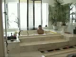 Amateur teen solo in bathtub then blowjob