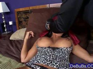 Sexy blindfolded brunette beauty