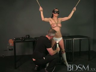 BDSM XXX Tied up sub beauty gets Masters full attention in dungeon before squirting