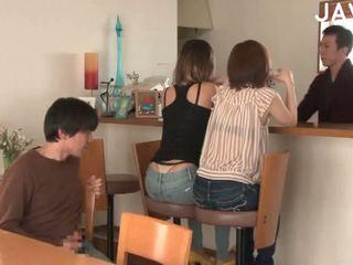 japonés, sexo en grupo, corrida