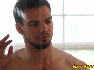 Blown Tyson Pierce assfucked after shower