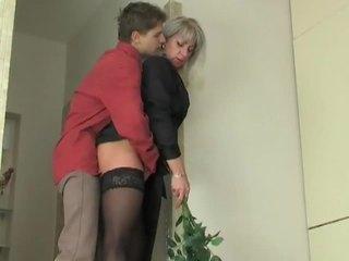 Milf slut seduces young boy