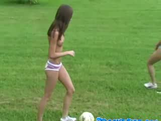 Naked lesbians playing soccer