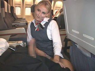 Blonda flight attendant & asiatic guy