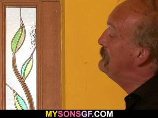 Old dirty father fucks his son's hot girlfriend