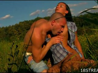 Cutie rides up long shlong and bounds on it fast outdoor