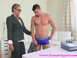 FemaleAgent. Incredibly shy stud gets MILFs panties wet
