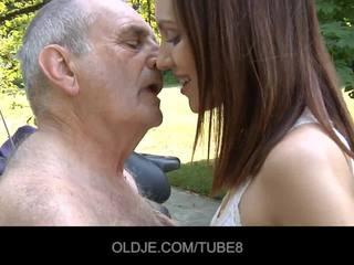 bestefar, fitte-slikking, oldman