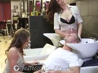 Fantasyhd - babes lily and holly have bukkake gangbang at beauty salon