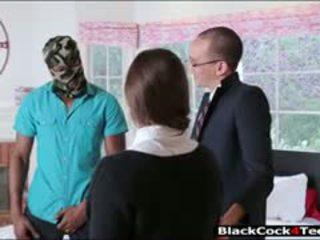 brünett, blowjob, interracial