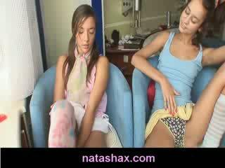 Natasha Shy and doll Ex toying and Masturbating