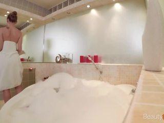 brunette, babe, bồn tắm