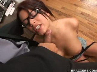 Eva AngeLina On Pigtails Takes A Hard Jock Deep In This Chapr Mouth