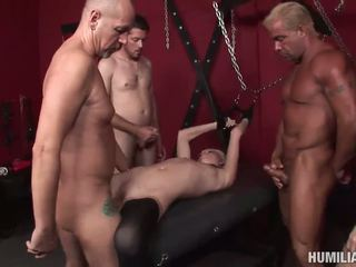 Blonde with small tits loves bondage