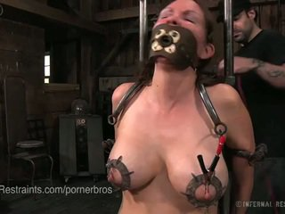 brunette, big boobs, torture