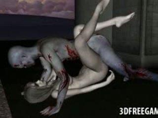 Sexy 3d zombie babe gets haar poesje licked en geneukt