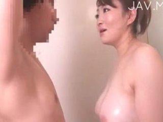 японски, големи цици, душ