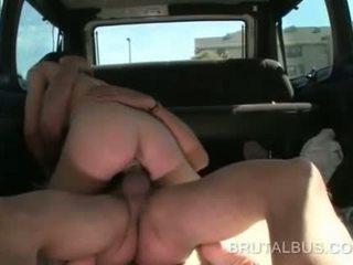 Wild bitch cum shot in the face in sex bus