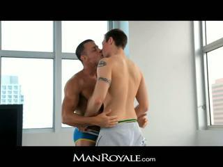 ManRoyale guy massages a bodybuilder's cock