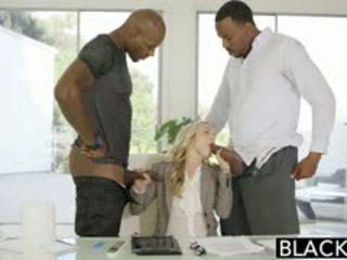 Blacked 完美 金發 karla kush 同 2 怪物 黑色 cocks