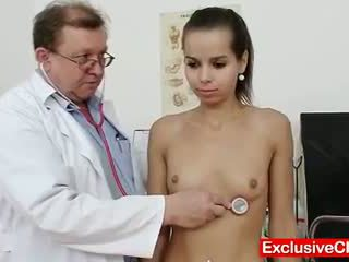Petite latina Ferrara Gomez pussy checkup up close