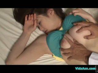 seins, dormir, asiatique