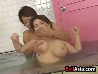 japanse, groepsseks, douche
