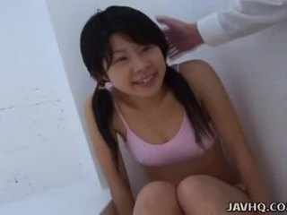 Asian teen sucking it as hard as she can