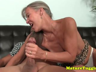 Smalltit GILF Jerking Cock on Couch, Free Porn b4