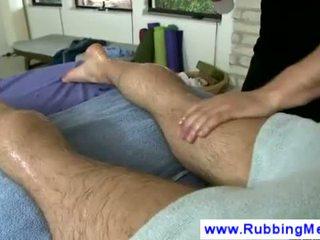 Gay masseur wanks a straight mans dick