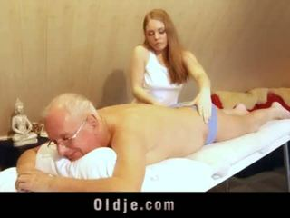 Old man fucks young blonde masseuse cums in her mouth <span class=duration>- 6 min</span>