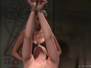 Hot mistress punishing sexy brunette