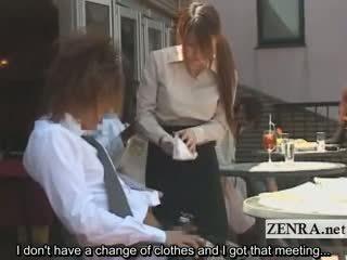 Subtitled japonez public cafe erection wiping chelnerita