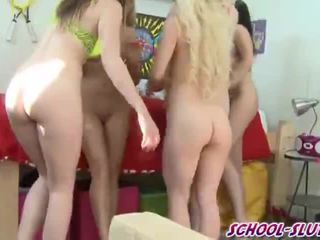 Sexy teenie college bitches do deep throat competition